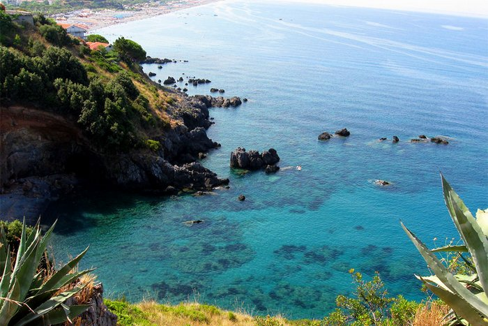 The crystal clear sea in Calabria
